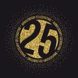 Twenty five years anniversary celebration golden logotype. 25th anniversary gold logo. Vector Stock Image