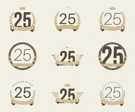 Twenty five years anniversary celebration logotype. 25th anniversary logo collection. Royalty Free Stock Photo