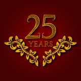 Twenty five years anniversary celebration patterned logotype. Twenty fifth anniversary vintage golden logo. With shadow Stock Image