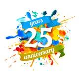 Twenty five years anniversary. Splash paint. Twenty five years anniversary. Vector watercolor splash paint stock illustration