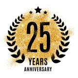 Twenty five years gold anniversary. Twenty five years gold anniversary symbol. 25. Golden glitter icon celebration for flyer, poster, banner, web header. Yellow Stock Photos