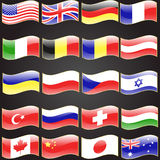 Twenty flags set wavy flag language Stock Images