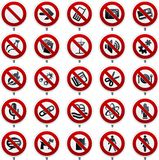 Twenty Forbidden Symbols In Shine Style Over Prohibition Signs. Royalty Free Stock Photo