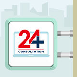 Twenty four available on line medical consultation. Laptop. Citylight conception. Royalty Free Stock Photo