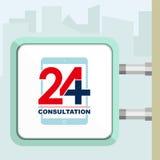 Twenty four available online medical consultation. Tab. Citylight conception. Stock Photos