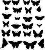 Twenty four butterfly silh Royalty Free Stock Images