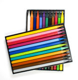 Twenty four color crayons. Twenty four color  crayons in two black boxes Royalty Free Stock Images