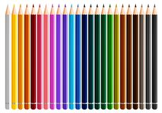 Twenty four color pencils on white background. Illustration Royalty Free Stock Photos