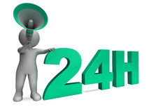 Twenty Four Hour Character Shows 24h Open All Day Service. Twenty Four Hour Character Showing 24h Open All Day Service Stock Image