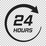 Twenty four hour clock icon in flat style. 24/7 service time ill. Ustration on isolated transparent background. Around the clock sign concept Royalty Free Stock Images