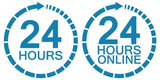 24 twenty four hour clock online service logo vector 24 hours symbol hours, service operating round clock online. 24 twenty four hour clock online service logo Stock Photos