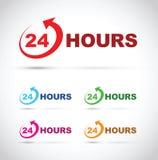 Twenty four hour icon set Stock Photos