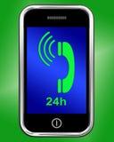 Twenty Four Hour On Phone Shows Open 24h. Twenty Four Hour On Phone Showing Open 24h Royalty Free Stock Images
