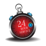 Twenty four hour service. Abstract colorful illustration with the text twenty four hour service written inside of a red stopwatch  on a white background Stock Photography