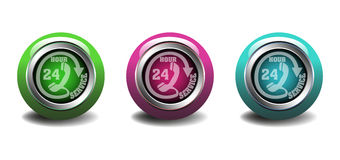Twenty four hour service buttons. Three isolated buttons with the text twenty four hour service written on each of them Stock Photography