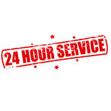 Twenty four hour service. Rubber stamp with text twenty four hour service inside,  illustration Stock Image