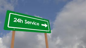 Twenty four hour service. Video with text '24h Service' on a green highway style notice board in white letters  with moving blue sky and cloud background stock footage