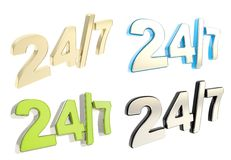 Twenty four hour seven days a week emblem. 24/7 twenty four hour seven days a week glossy emblem icon isolated over white background, set of four Stock Photos