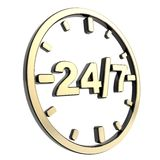 24/7 twenty four hour seven days a week emblem icon. 24/7 twenty four hour seven days a week glossy black and golden round emblem icon isolated on white Stock Photo