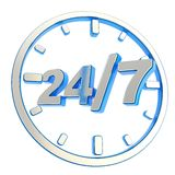 24/7 twenty four hour seven days a week emblem icon. 24/7 twenty four hour seven days a week glossy chrome metal and blue plastic round emblem icon isolated on Stock Photography
