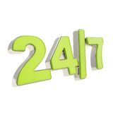 24/7 twenty four hour seven days a week emblem icon Royalty Free Stock Photo