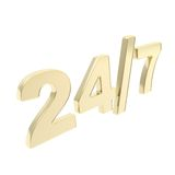 24/7 twenty four hour seven days a week emblem icon. 24/7 twenty four hour seven days a week glossy golden emblem icon isolated on white background Stock Photo