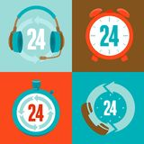 Twenty four hour support - flat  icons Royalty Free Stock Photos
