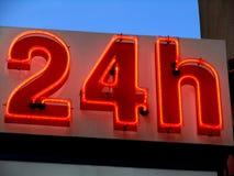 Twenty four hours. Neon twenty four hours Stock Images