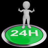 Twenty Four Hours Button Means 24H Service Stock Photo