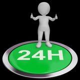 Twenty Four Hours Button Means 24H Service. Twenty Four Hours Button Meaning 24H Service Stock Photo