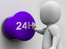 Twenty Four Hours Button Shows Available 24H. Twenty Four Hours Button Showing Available 24H Royalty Free Stock Images