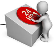Twenty Four Hours Button Shows 24H  Assistance Royalty Free Stock Images