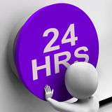 Twenty Four Hours Button Shows 24H  Availability Stock Image