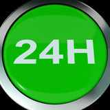 Twenty Four Hours Button Shows Open 24 hours. Twenty Four Hours Button Showing Open 24 hours Stock Image