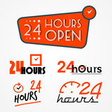 Twenty four hours labels set Stock Image