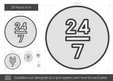 Twenty four hours line icon. 24 hours vector line icon isolated on white background. 24 hours line icon for infographic, website or app. Scalable icon designed Stock Images