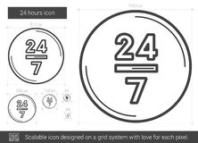 Twenty four hours line icon. 24 hours vector line icon isolated on white background. 24 hours line icon for infographic, website or app. Scalable icon designed Royalty Free Stock Images