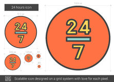 Twenty four hours line icon. 24 hours vector line icon isolated on white background. 24 hours line icon for infographic, website or app. Scalable icon designed Royalty Free Stock Photos