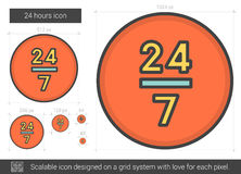 Twenty four hours line icon. 24 hours vector line icon isolated on white background. 24 hours line icon for infographic, website or app. Scalable icon designed Stock Image