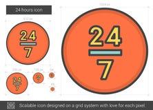 Twenty four hours line icon. Stock Image