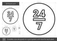Twenty four hours line icon. 24 hours vector line icon isolated on white background. 24 hours line icon for infographic, website or app. Scalable icon designed Stock Photos