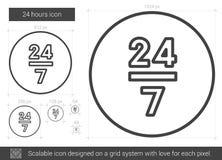 Twenty four hours line icon. Stock Photos
