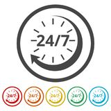 Twenty four hours open, Vector open hours icon, 6 Colors Included. Simple vector icons set Royalty Free Stock Photo