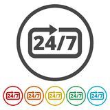 Twenty four hours open, Vector open hours icon, 6 Colors Included. Simple  icons set Stock Images