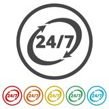 Twenty four hours open, Vector open hours icon, 6 Colors Included. Simple  icons set Stock Image