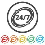Twenty four hours open, Vector open hours icon, 6 Colors Included. Simple  icons set Royalty Free Stock Image