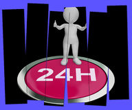 Twenty Four Hours Pressed Means 24H Service Royalty Free Stock Photos