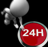 Twenty Four Hours Pressed Shows Open 24H Royalty Free Stock Image