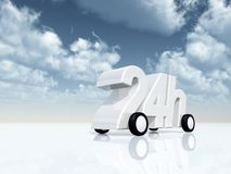 Twenty four hours on the road. 24h on wheels - 3d illustration Stock Photo
