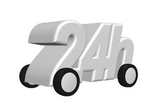 Twenty four hours on the road. 24h on wheels - 3d illustration Stock Photography